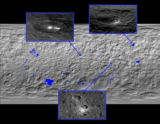 Distribution of bright areas across Ceres – Credit: NASA/JPL-Caltech/UCLA/MPS/DLR/IDA
