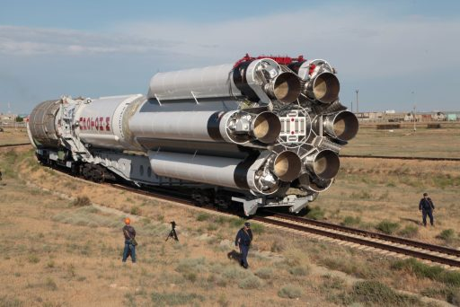 A three-stage Proton rolls out at the Baikonur Cosmodrome - Photo: Roscosmos