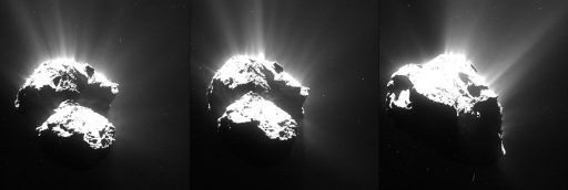 Comet plumes near perihelion in 2015 - Credit: ESA/Rosetta/MPS for OSIRIS Team MPS/UPD/LAM/IAA/SSO/INTA/UPM/DASP/IDA