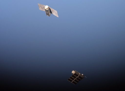 Two Doves float away from ISS - Photo: NASA
