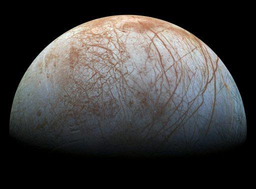 Realistic-color Galileo mosaic of Europa's anti-Jovian hemisphere - Image: NASA/JPL/Caltech