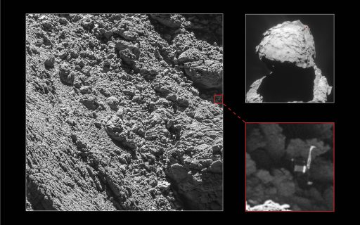 The small Philae lander has finally been spotted on comet 67P almost two years after its bouncy landing - Credit: ESA/Rosetta/MPS for OSIRIS Team MPS/UPD/LAM/IAA/SSO/INTA/UPM/DASP/IDA; Context: ESA/Rosetta/NavCam