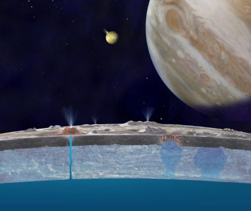 Artist's illustrations of water plumes emanating from Jupiter Moon Europa - Image: NASA