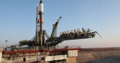 Photos: Soyuz Rocket moved to Baikonur Launch Pad at Sunrise