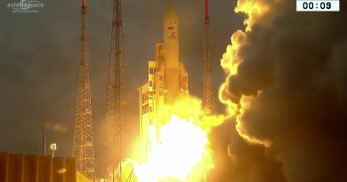 Ariane 5 thunders into the Sunset with Communications Satellites for Brazil & Indonesia
