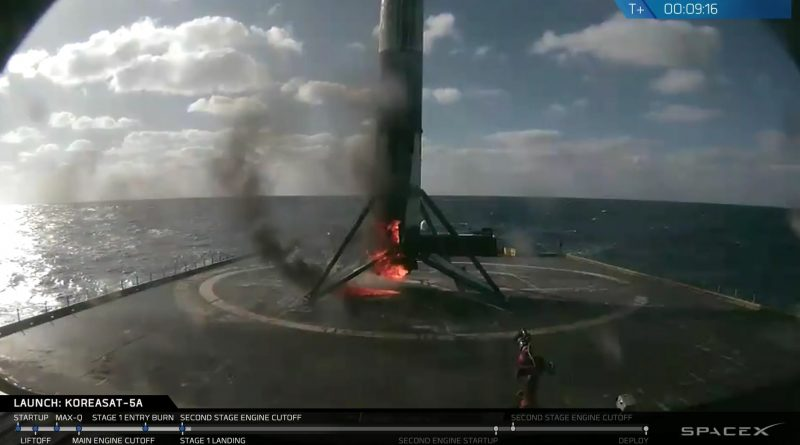 Video: SpaceX Falcon 9 Launches KoreaSat 5A; Fiery Stage 1 Landing