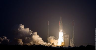 Ariane 5 Blasts Off at Sunset on Heavy-Haul with Japanese & U.S.-Built Communications Satellite Pair
